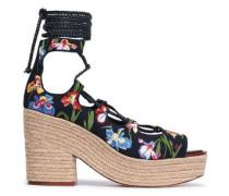 Embroidered Canvas Platform Espadrille Sandals Midnight Blue