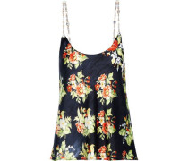 Chain-trimmed Floral-print Charmeuse Camisole Midnight Blue