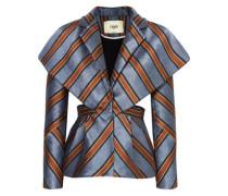 Cape-effect Cutout Striped Jacquard Jacket Anthracite