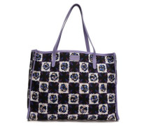 Leather-trimmed Printed Twill Tote Midnight Blue Size --