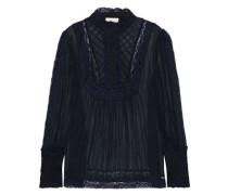 Woman Unbridled Pintucked Silk-georgette Blouse Black