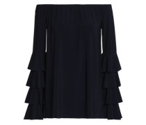 Off-the-shoulder Tiered Stretch-jersey Top Midnight Blue