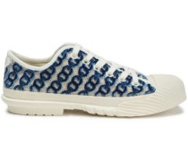 Woman Rubber-paneled Flocked Canvas Sneakers Blue