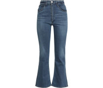 Cropped High-rise Bootcut Jeans Mid Denim  7