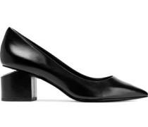 Simona Cutout Leather Pumps Black