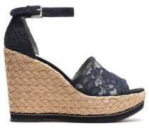 Suede-trimmed corded lace wedge espadrille sandals