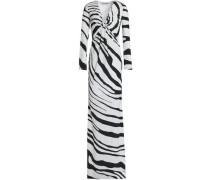Twisted zebra-print stretch-jersey gown