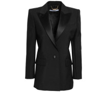 Woman Satin-trimmed Mohair And Wool-blend Blazer Black