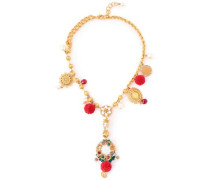 Gold-tone, Crystal, Resin And Pompom Necklace Gold Size --
