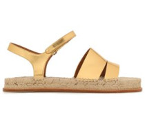 Metallic Leather Espadrille Sandals Gold