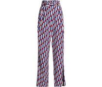 Printed crepe wide-leg pants