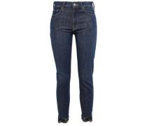 Lace-trimmed High-rise Skinny Jeans Dark Denim  4