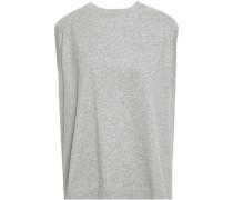 Tie-back Mélange Cotton-jersey Top Light Gray