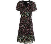 Paneled Floral-print Georgette Dress Black