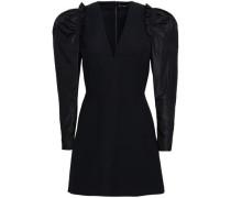 Embellished Wool-blend Taffeta Mini Dress Black