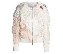 Ruched printed silk-satin bomber jacket
