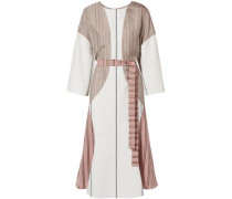 Barre Paneled Striped Satin-twill And Poplin Dress White