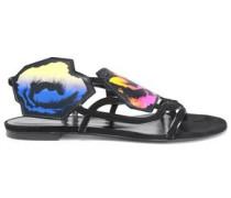 Printed suede sandals