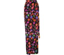 Printed silk crepe de chine wrap maxi skirt