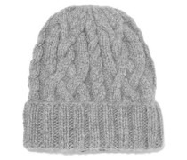 Cable-knit Alpaca Beanie Light Gray Size ONESIZE