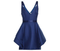 Ruffled Cotton And Silk-blend Mini Dress Navy