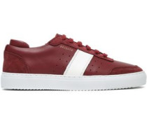 Woman Leather And Suede Sneakers Merlot