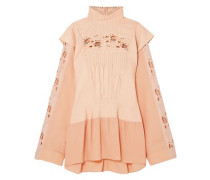 Embellished Broderie Anglaise Linen And Cady Turtleneck Blouse Peach