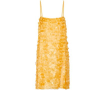 Sequined Silk-chiffon Slip Dress Mustard