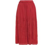 Woman Lise Embroidered Chiffon Midi Skirt Tomato Red