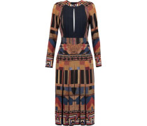 Open-back Pleated Printed Silk Dress Brown