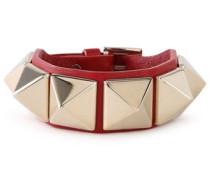Studded Leather Bracelet Red Size --