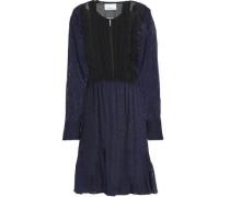 Ruffle-trimmed fil coupé silk-blend georgette dress