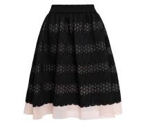 Jarod Flared Layered Lace And Mesh Skirt Black