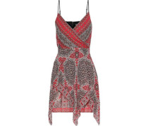 Bandana Wrap-effect Layered Printed Georgette Mini Dress Tomato Red