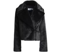 Faux Fur Biker Jacket Black