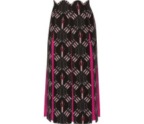 Love Blades silk-paneled printed wool-blend midi skirt