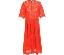 Woman Jerome Pleated Corded Lace Midi Dress Papaya