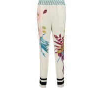Printed Silk-piqué Tapered Pants Ivory