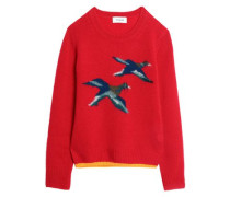 Intarsia-knit cashmere-blend sweater