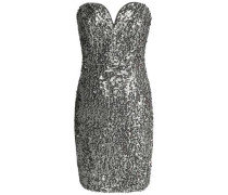 Strapless sequined crepe mini dress
