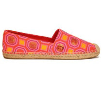 Sequin-embellished Printed Canvas Espadrilles Coral
