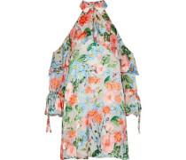 Blayne Cold-shoulder Floral-print Fil Coupé Mini Dress Multicolor