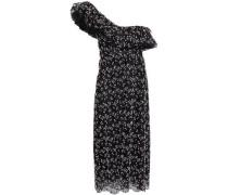 One-shoulder Embroidered Cotton-blend Tulle Midi Dress Black