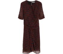 Knotted Polka-dot Silk-georgette Mini Dress Burgundy