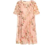 Woman Gathered Floral-print Silk Crepe De Chine Mini Dress Pastel Pink