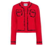 Cropped Bead-embellished Cotton And Cashmere-blend Cardigan Red