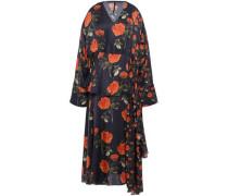 Asymmetric Floral-print Satin Midi Dress Midnight Blue