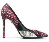Cutout metallic-trimmed printed suede pumps