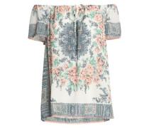 Off-the-shoulder printed silk crepe de chine top