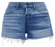 Shadow Distressed Denim Shorts Mid Denim  3